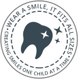First Visit circle mark artwork for Pediatric dentist Dr. Cynthia Allen-Williams in Ft. Washington, MD